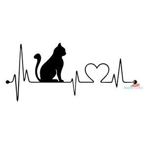 Kat hartslag sticker