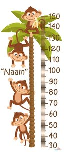 Apen in palmboom groeimeter met naam