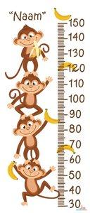 Apen met bananen groeimeter met naam