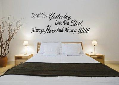Loved you yesterday, love you still, always have and always will. Muursticker / Interieursticker