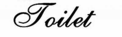 Deursticker Toilet. Kies je eigen lettertype