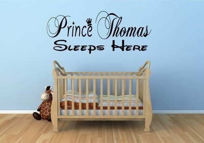 """Naamsticker Prince """"jouw naam"""" sleeps here muursticker / deursticker"""