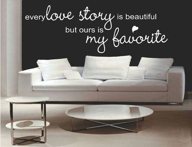 Every love story is beautiful, but ours is my favorite Muursticker