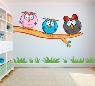 Crazy owls 2 (gekke uilen) full color muursticker