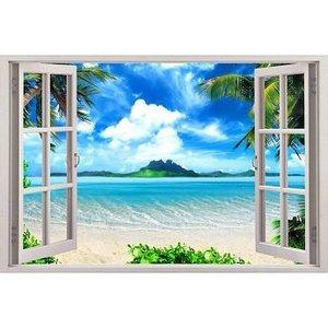 Open raam met uitzicht op een exotisch strand. Full color muursticker