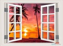 Open raam zonsondergang tropisch strand. Full color muursticker